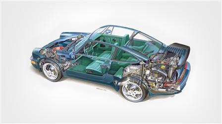 1992, 964 Turbo 3.3 Phantomzeichnung